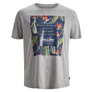Jack & Jones Floralprint T-Shirt hellgrau melange