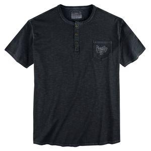 Redfield Vintage T-Shirt Knopfleiste schwarz XXL
