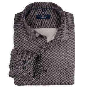 CasaModa Langarmhemd Alloverdruck bordeaux-navy XXL