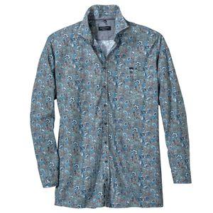 CasaModa XXL blau-weiß kariertes Langarmhemd Paisley