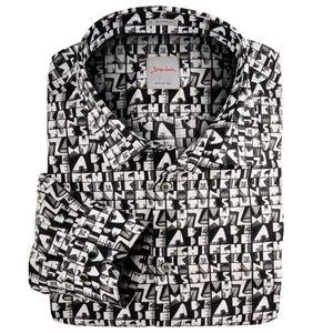 Signum Langarmhemd schwarz-weiß Alloverprint XXL