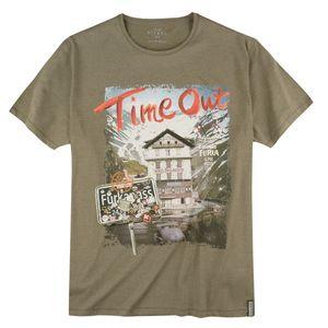 Kitaro T-Shirt Alpenprint oliv melange XXL