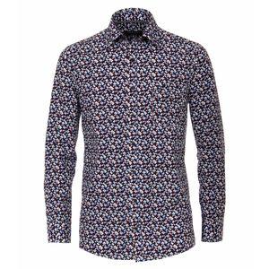 CasaModa Langarmhemd bordeaux-blau-weiß gemustert XXL