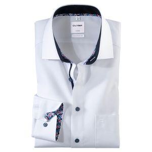 Olymp Langarmhemd Dobbystruktur weiß bügelfrei XXL