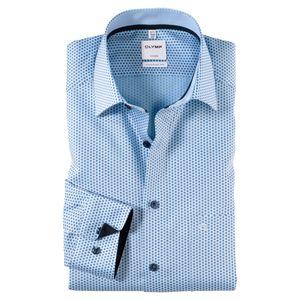 Olymp Dobby Langarmhemd Alloverdruck blau XXL