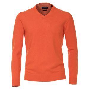 CasaModa Übergröße V-Neck Strickpullover orange