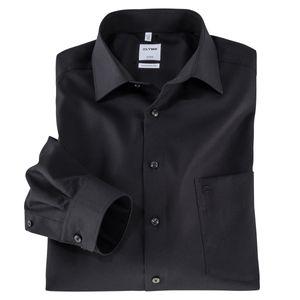 Olymp Übergrößen Langarm-Businesshemd schwarz
