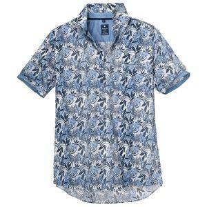 XXL Redmond Kurzarmhemd Floraldruck blau-weiß