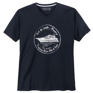 Kitaro V-Neck T-Shirt maritim bedruckt navy Übergröße