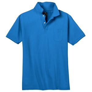 Übergrößen Kitaro Poloshirt azurblau Basic Piqué