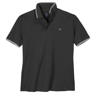 Kitaro XXL Stretch-Poloshirt schwarz Kontrastdetails