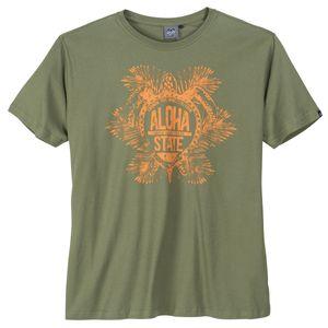 Ahorn Sportswear Übergrößen T-Shirt oliv Aloha Print