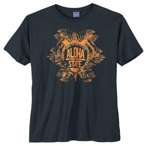 Ahorn große Größen T-Shirt navy Aloha Print