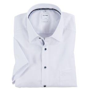 Olymp XXL Kurzarmhemd fein strukturiert weiß bügelfrei