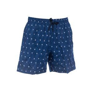XXL Badeshorts Bellonda blau-weiß Minipalmen-Muster