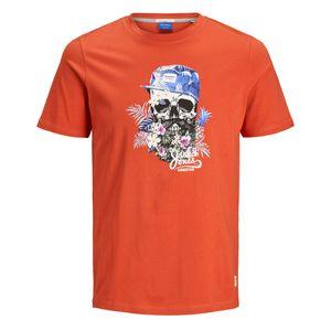 Jack & Jones T-Shirt Totenkopf-Print chili Übergröße