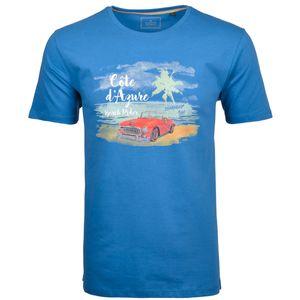 Ragman T-Shirt große Größen blau sommerlicher Print