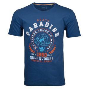 Ragman T-Shirt große Größen blau Print Beach Paradise