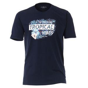 CasaModa Übergrößen T-Shirt navy Print Tropical Vibes