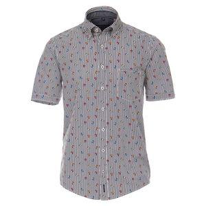CasaModa XXL Streifenhemd Kurzform weiß Rollerprint