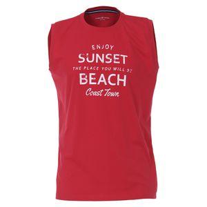 CasaModa Übergrößen Tanktop rot Print Sunset Beach