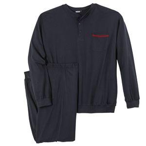 Adamo Pyjama Übergröße navy Knopfleiste Brian