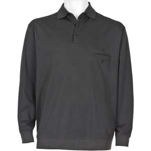 Ragman Polo-Sweatshirt dunkelgrau Pima-Cotton