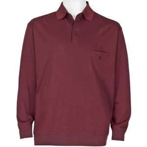 Ragman Polo-Sweatshirt bordeaux Pima-Cotton