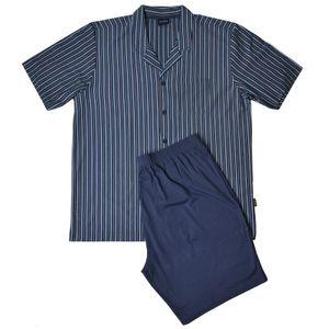 Kurzer Reverskragen Pyjama türkis-blau-gelb gestreift Jockey