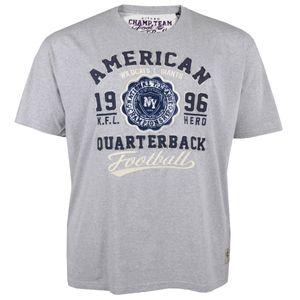 Kitaro American Übergrößen Herren T-Shirt grau-meliert