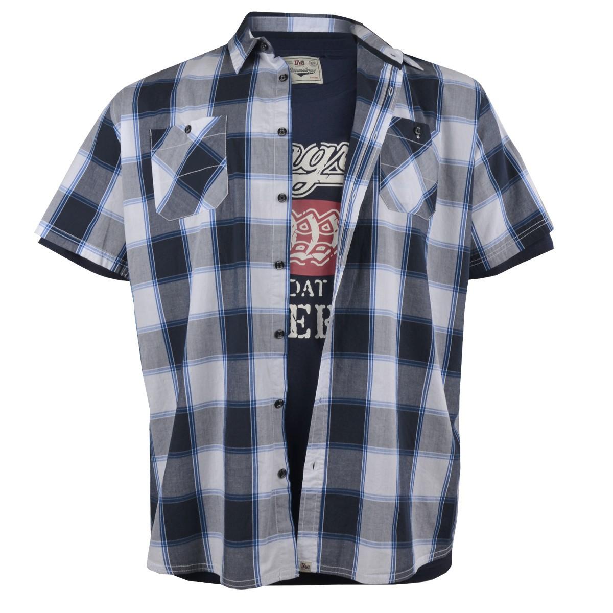 new product 9ca4a f2000 Duke kurzarm Hemd und T-Shirt Set blau weiß kariert - extra Länge