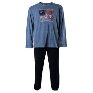 Frottee Pyjama blau von Jockey in Übergröße