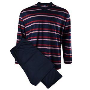 Übergrößen merzerisierter Kapart Schlafanzug dunkelblau-rot-weiß ... df55384b51