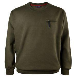 Rib-Sweatshirt oliv mit Tasche von Lucky Star Übergröße