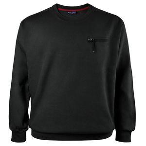 Lucky Star Rib-Sweatshirt schwarz mit Tasche Übergröße