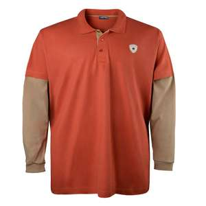 Lucky Star double-layer Langarm Poloshirt orange-beige Übergröße