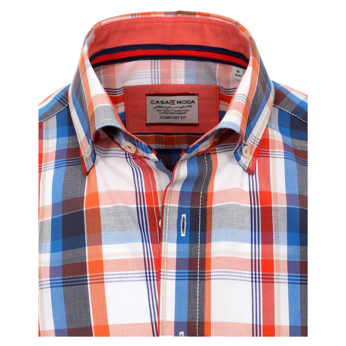 low priced b041e ed740 Rot-orange-blau-weiß kariertes kurzarm Hemd Casa Moda Button Down Kragen