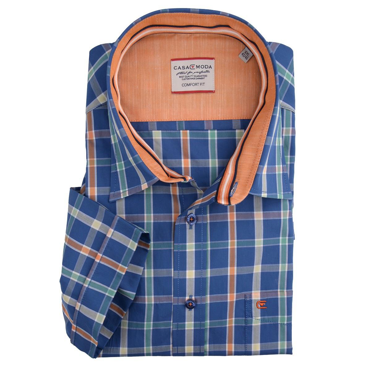 pretty nice 30bd8 ed8ea Kent Kragen Kurzarm Hemd von Casa Moda blau-orange kariert