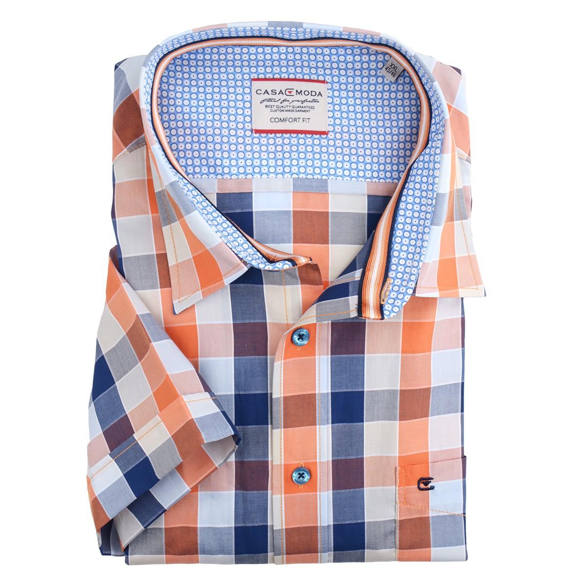 outlet store 89149 81354 XXL Casa Moda kariertes kurzarm Hemd orange-blau-weiß