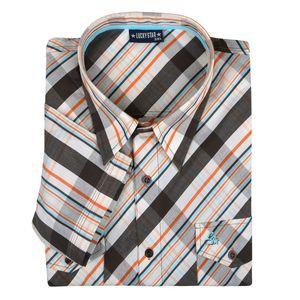 Diagonal kariertes Kurzarmhemd von Lucky Star in braun-orange-beige