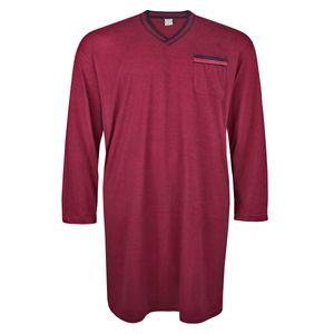 Adamo Fashion Langarm-Nachthemd bordeaux-dunkelblau Melange Übergröße