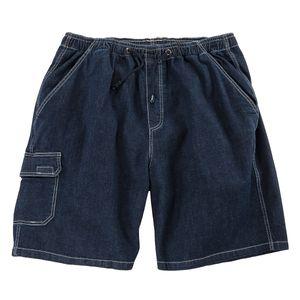 XXL Jeans Cargo Bermuda Gummibund dunkelblau