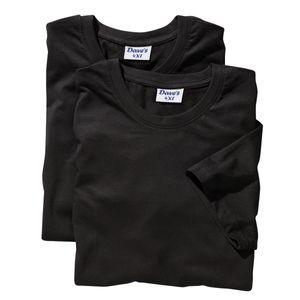 Schwarzes DAVE`S Doppelpack T-Shirt Übergröße