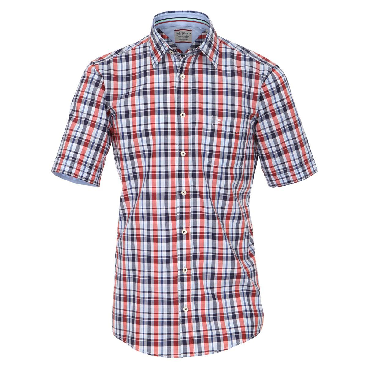 low priced 72b3d 025b1 Casa Moda kurzarm Hemd rot-dunkelblau kariert