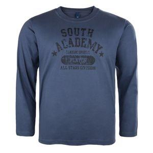 Blau-graues Langarm Shirt von DAVE´S Übergröße