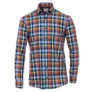 Casa Moda XXL Langarmhemd blau-orange-gelb kariert 001