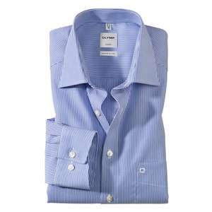 Olymp blau-weiß gestreiftes Langarmhemd Übergröße
