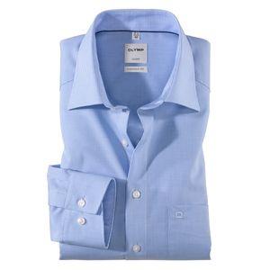 XXL Olymp Langarmhemd hellblau-weiß kariert bügelfrei
