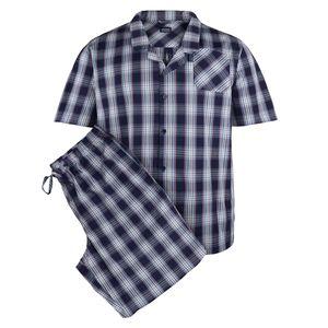 Jockey kurzer Pyjama dunkelblau kariert Übergröße