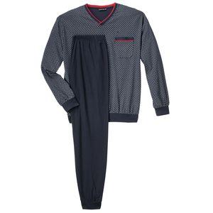 Götzburg Pyjama mit V-Ausschnitt dunkelblau gemustert Übergröße
